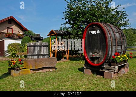 Wicker press, fruit mill, wine cask, Rothenfels, district Main-Spessart, Lower Franconia, Bavaria, Germany - Stock Photo