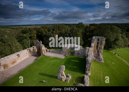 Ruins of Spynie palace seen from Davids tower.Spynie,Morayshire - Stock Photo