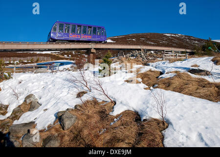 The cairngorm railway on lower slopes near terminus.Cairngorm-mountains,Glenmore. - Stock Photo