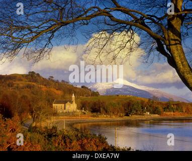Ardchattan church and ben Cruachan,Loch Etiveside,Argyll,scotland. - Stock Photo