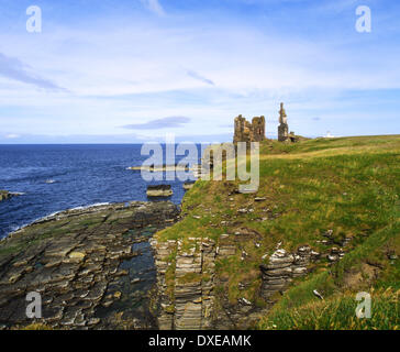 Sinclair and Girnigeo castles,noss head near wick,caithness. - Stock Photo