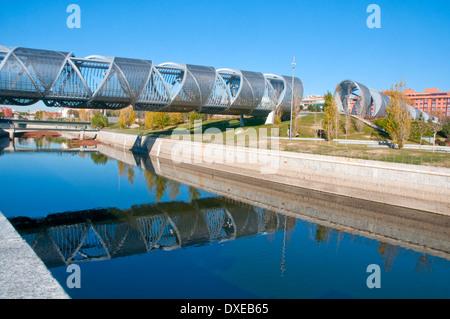 Bridge by Perrault and river Manzanares. Madrid Rio, Madrid, Spain. - Stock Photo