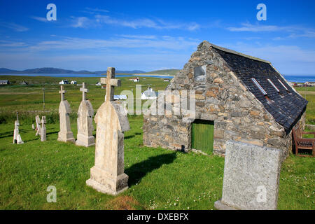 Cille Bharra Church (Kilbarr Church) situated on the eastern slopes of Ben Eoligarry, Isle of Barra, Outer Hebrides. - Stock Photo