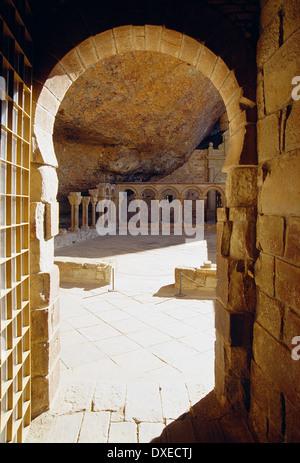 Entrance to the cloister. Monastery of San Juan de la Peña, Huesca province, Aragon, Spain. - Stock Photo