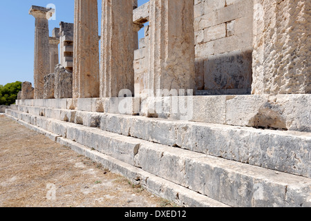 Close-up view crepis or steps on south side Temple Aphaia or Afea Aegina Greece Dating from 490 BC the - Stock Photo