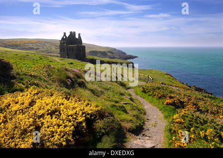 Spring view towards Dunskey castle ruins on the clifftops near Portpatrick,Dumfries and Galloway - Stock Photo