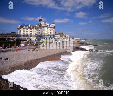 View along the seafront from the pier,Eastbourne,East sussex - Stock Photo