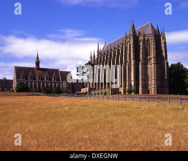 Lancing College and Chapel, 13th Century gothic style architecture,Sussex - Stock Photo