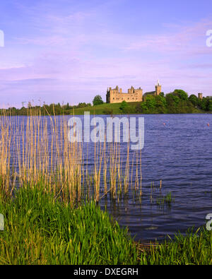 Linlithgow palace from across Linlithgow Loch west Lothian Scotland - Stock Photo