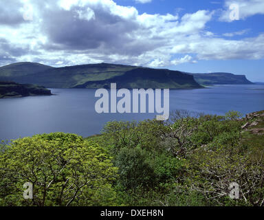 View across Loch Na Keal towards south Mull and the Gribun, Isle of Mull, Argyll - Stock Photo