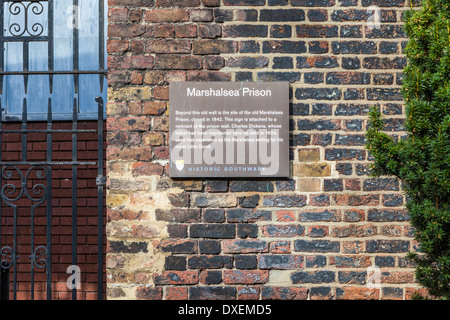 Marshalsea Prison - Remnant of the Old prison wall in St George's Churchyard Gardens, Southwark, South London, UK - Stock Photo