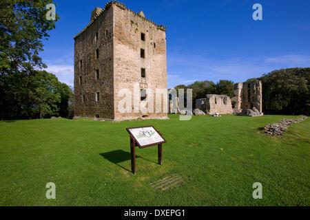 Spynie palace and davids tower,Spynie,Moray - Stock Photo