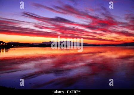 Sunset over Mull from Connel, Argyll - Stock Photo
