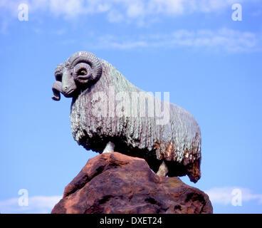Colvin fountain and bronze ram in Moffat town centre Scottish Borders, - Stock Photo