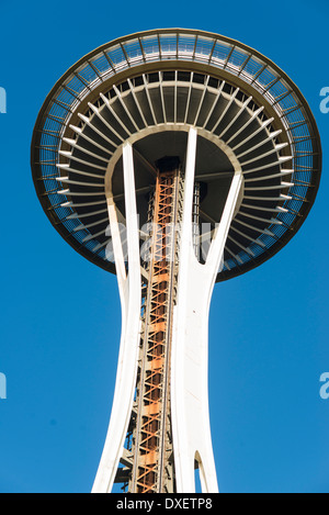 Seattle, Space needle, view from below, blue sky - Stock Photo