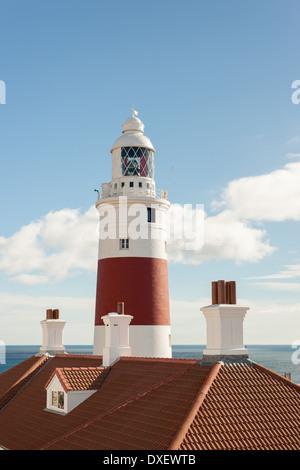 Europa Point Lighthouse, Gibraltar, Spain. - Stock Photo