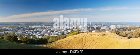 View of Auckland from Mount Eden, Auckland, North Island, New Zealand - Stock Photo