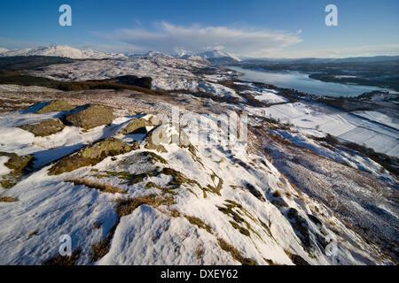 Winter view towards Loch Etive & Ben Cruachan as seen from Ben Lora, Argyll. - Stock Photo