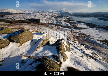 Winter view from Ben Lora towards Loch Etive and Ben Cruachan, Argyll - Stock Photo