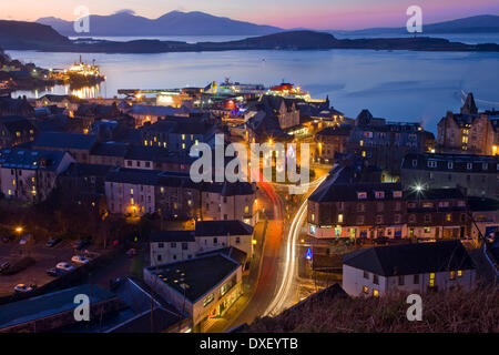 Oban at Christmas with a distant Mull in view, Argyll - Stock Photo