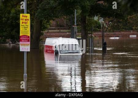 The River Ouse floods the streets of central York in the United Kingdom. September 2012. - Stock Photo