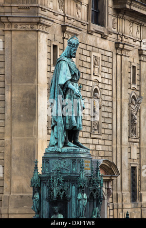 statue of King Charles IV, Knights of the Cross Square, Old Town, Prague - Stock Photo