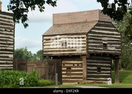 Replica of old Fort Wayne blockhouse, built in 1815 on the Maumee River, Ft Wayne, Indiana. Digital photograph - Stock Photo