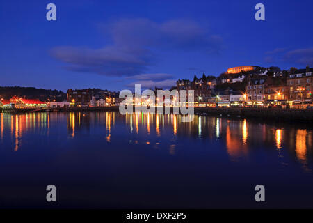 Oban town and bay seen at dusk,Argyll, - Stock Photo