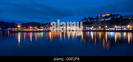 Panoramic view across Oban bay at dusk,Argyll. - Stock Photo
