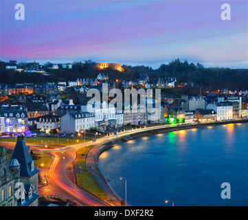 View across oban bay at sunset from the cathedral tower,oban,argyll - Stock Photo