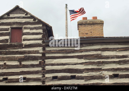 Replica detail of old Fort Wayne, built in 1815 on the Maumee River, Ft Wayne, Indiana. Digital photograph - Stock Photo