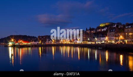 View across Oban bay at night,Argyll. - Stock Photo