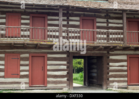 Replica Of Old Fort Wayne Blockhouse Built In 1815 On The Maumee Stock Photo Royalty Free
