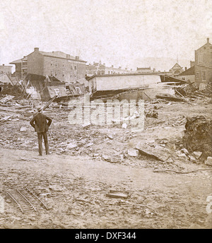 Circa 1890 antique photograph, the Great Johnstown Flood May 31, 1889 in Johnstown, Pennsylvania, PA, USA. - Stock Photo