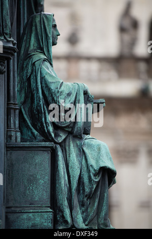 pedestal of the statue of King Charles IV, Knights of the Cross Square, Old Town, Prague - Stock Photo