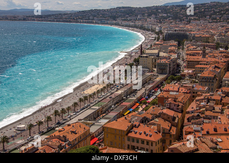 The city of Nice on the Cote d'Azur in the South of France. - Stock Photo