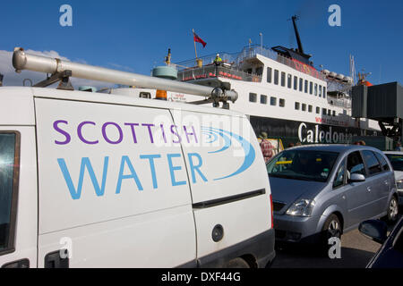 A scottish water van awaits boarding onto the Mull ferry in Oban Argyll, - Stock Photo