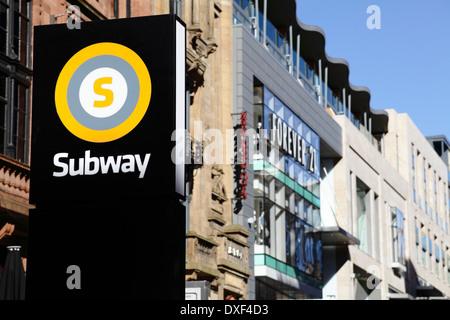 A subway (underground) station sign in Glasgow city centre, Scotland, UK - Stock Photo