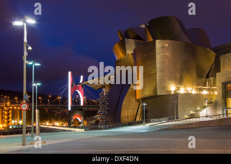 Bilbao in the province of Biscay in northern Spain. View of the Puente de la Salve (Bridge) and the Guggenheim Museum - Stock Photo