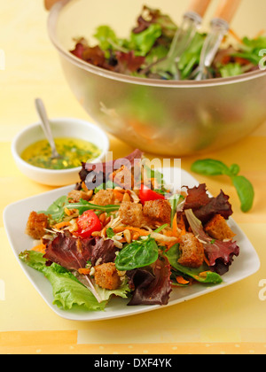 Celeriac salad with pine nuts. Recipe available. - Stock Photo