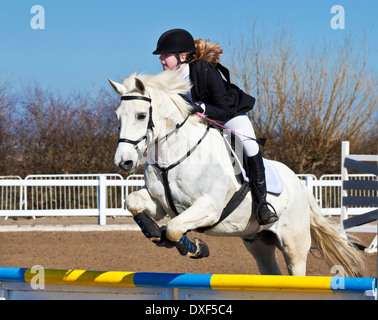 Young girl jumping a white horse pony over a jump at a showjumping event horse riding - Stock Photo