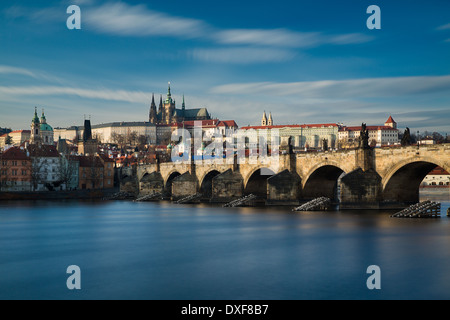 the Castle District, St Vitus Cathedral and the Charles Bridge over the River Vltava, Prague, Czech Republic - Stock Photo