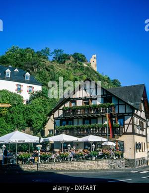 Cafe terrace and half-timbered house Altenahr Rhineland-Palatinate Germany - Stock Photo