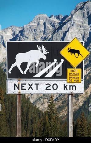 Moose crossing, warning sign, British Columbia interior, B.C., Canada - Stock Photo