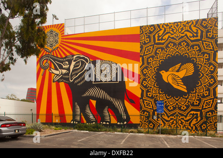 Street Art by Shepard Fairey, West Hollywood Public Library, Los Angeles county California, United States of America - Stock Photo