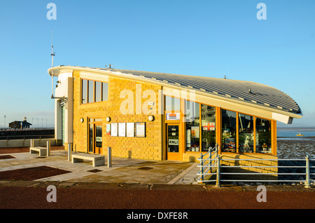 The new RNLI lifeboat station at Morecambe Lancashire with the Stone Jetty behind - Stock Photo