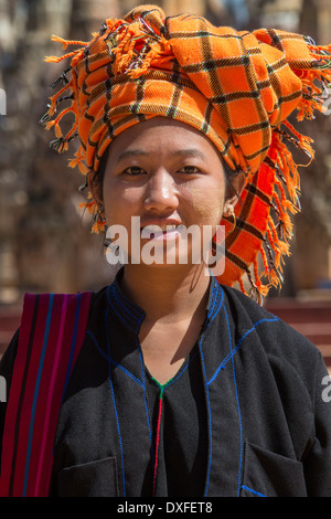 A young woman of the PaO people of Shan State in Myanmar (Burma). - Stock Photo