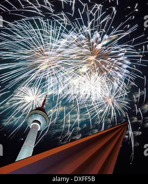 Fernsehturm Berlin, television tower, New Year's Eve fireworks, Alexanderplatz, Berlin, Germany - Stock Photo
