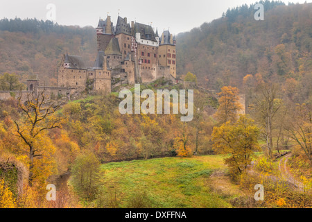 Eltz Castle in Autumn, Rheinland-Pfalz, Germany - Stock Photo