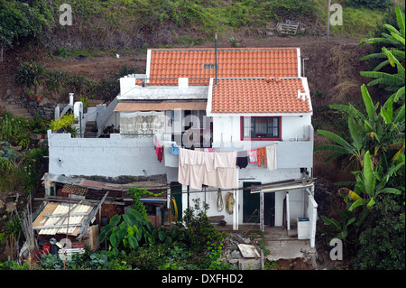 Funchal Madeira view of local property from cable car - Stock Photo